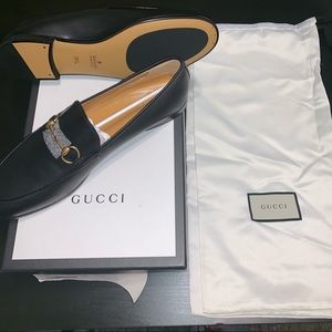 Gucci Black leather Classic Gold Horsebit loafers
